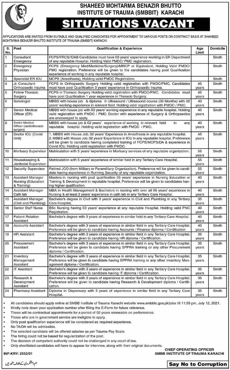 Shaheed Mohtarma Benazir Bhutto Institute Of Trauma SMBBIT Karachi Jobs 2021