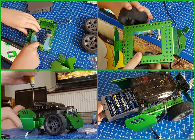 Roboblox Q-Scout Robot review collage of 4 photos showing assembly of robot