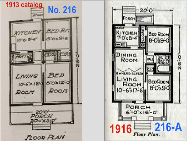 comparison of floorplans on Sears No 216 and Sears No 216A