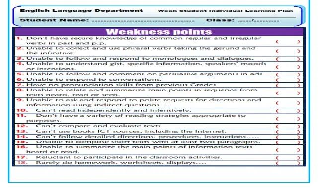 اقوى خطة علاجية لتقوية الطلاب الضعاف فى اللغة الانجليزية وتاسيسهم بطريقة محترفة من موقع درس انجليزي اقوى خطة علاجية لتاسيس الطلاب الضعاف فى اللغة الانجليزية