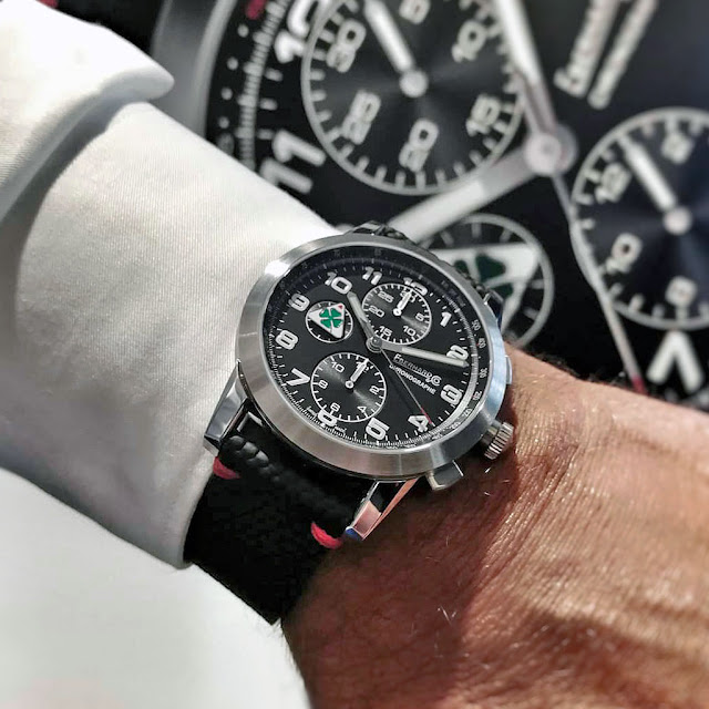 "Wristshot of the Eberhard ""Quadrifoglio Verde"" Chronograph"
