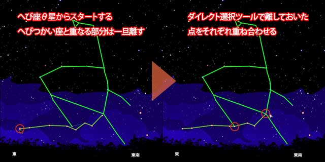 へび星座線尾部の描き方
