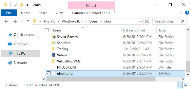 ملف TAR لبيئة Linux تم إنشاؤه بواسطة نظام التشغيل Windows 10