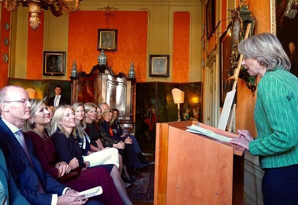 Queen Maxima visited Museum Van Loon, and VU University. The Queen wore a burgundy sweater and pants by Natan
