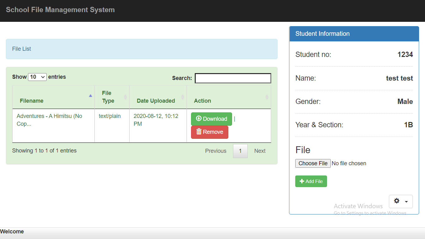 school file management system in php mysql