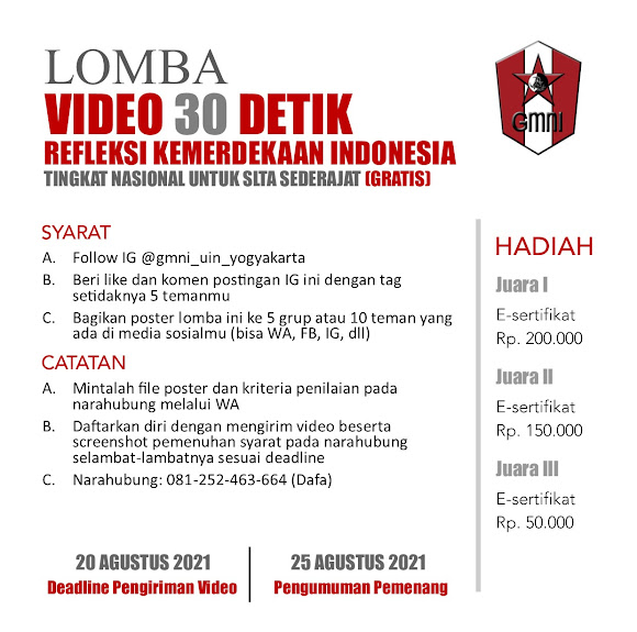 Lomba Video 30 Detik Refleksi Kemerdekaan Indonesia Tingkat Nasional untuk SLTA Sederajat (GRATIS)