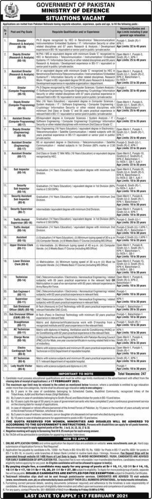 Ministry of Defense Jobs 2021 Assistant Directors, Deputy Directors, Inspectors, Supervisors, Clerks Apply Online