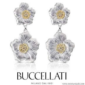 Queen Maxima Jewellery Buccellati Gardenia Pendant Earrings