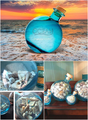 Decorative Blue Organic Ocean Vodka Bottle Beach Shell Decor Idea