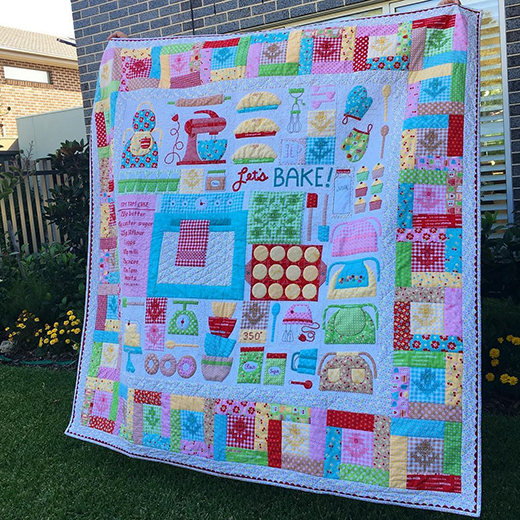 Let's Bake Quilt made by Fiona Forsyth, The Pattern designed by Lori Holt of Bee in my Bonnet for Riley Blake Designs