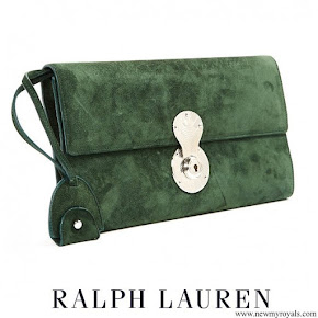 Meghan Markle carried Ralph Lauren Green Suede Clutch