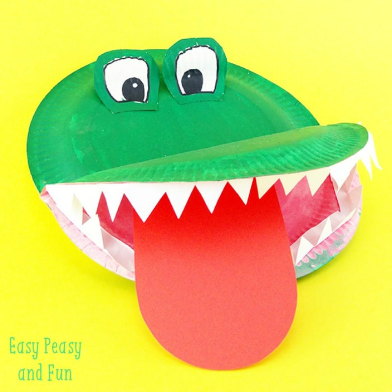 Paper plate animals crocodile craft
