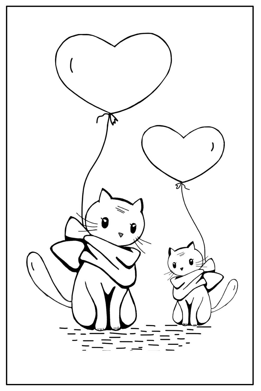Download Wallpaper Coloriage chat avec coeur