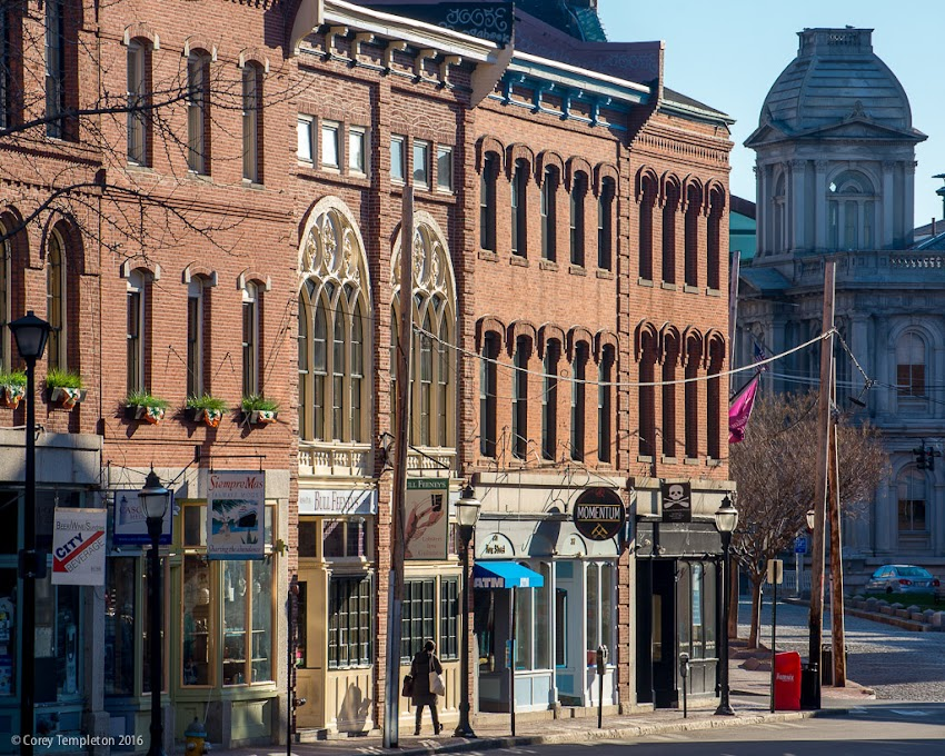 A quiet spring morning on Fore Street in Portland, Maine USA. April 2016 photo by Corey Templeton.