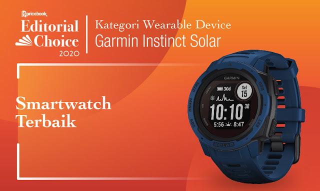 Garmin Instinct Solar dipilih oleh Pricebook sebagai Smartwatch Terbaik 2020 karena berbagai fitur di dalamnya