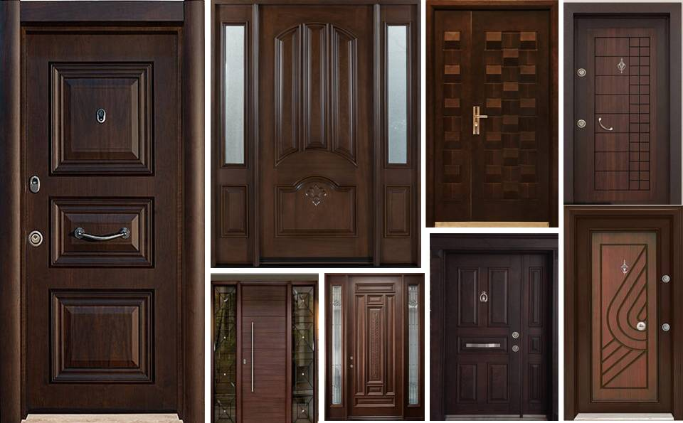 22 Dark Brown Entry Wood Armored Doors
