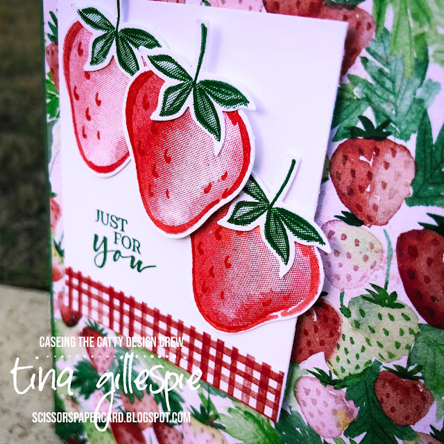 scissorspapercard, Stampin' Up!, CASEing The Catty, Sweet Strawberry, Berry Delightful DSP