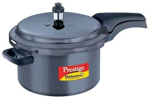 Prestige Deluxe Plus Hard Anodized Outer Lid Pressure Cooker (5 Litres) Black Color