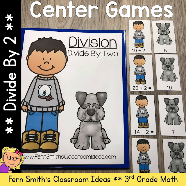3rd Grade Go Math 7.1 Divide By 2 Center Games #FernSmithsClassroomIdeas