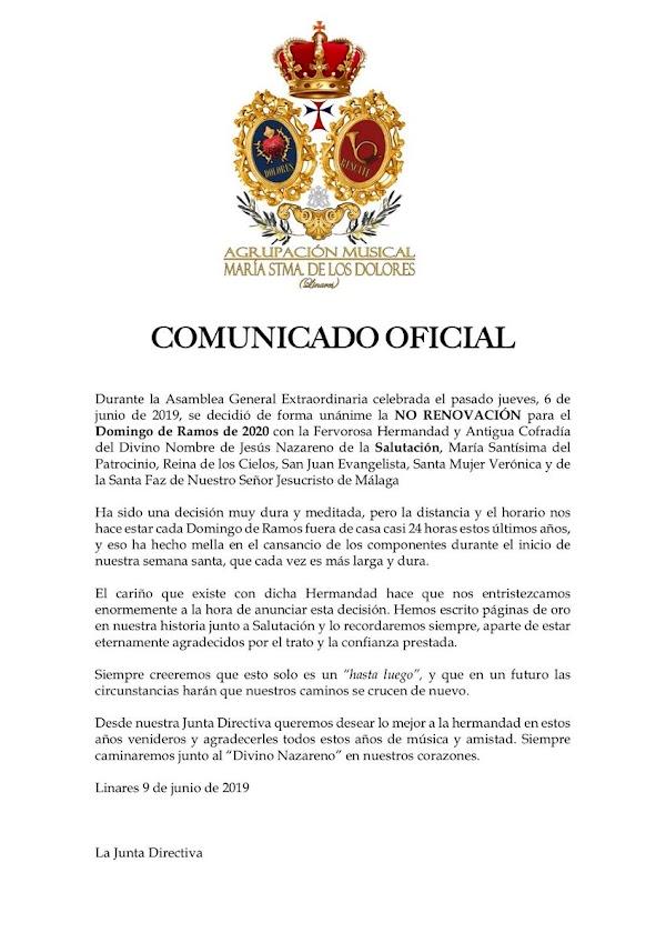 Rescate de Linares no seguirá con Salutación de Málaga el Domingo de Ramos del 2020