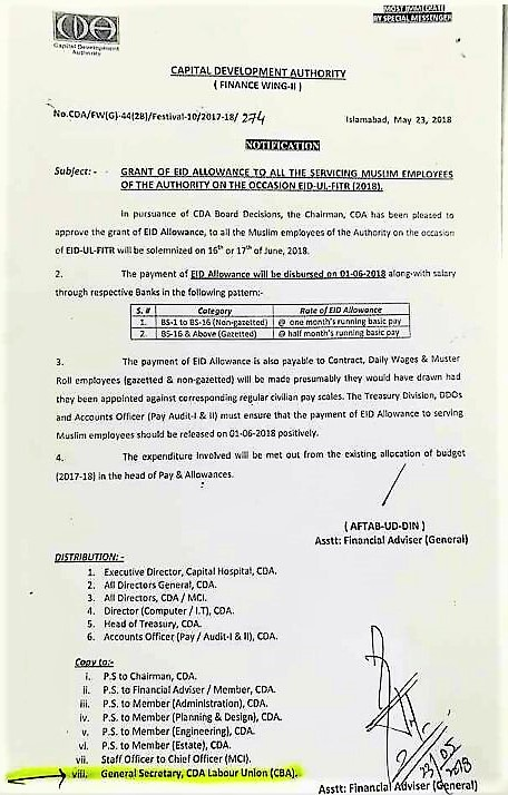 GRANT OF EID ALLOWANCE TO ALL THE SERVICING MUSLIM EMPLOYEES ON THE OCCASION OF EID-UL-FILTR 2018