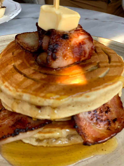 pancakes with bacon and maple sauce, Omikron, Paphos, Cyprus