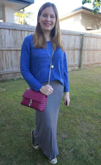 cobalt knit and converse with grey pinstripe maxi skirt and magenta edie crossbody bag | awayfromtheblue