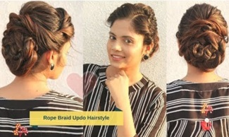 Cute Rope Braid Bun/Updo Hairstyle | Stylish Bun Hairstyle for Wedding | Komal's hair