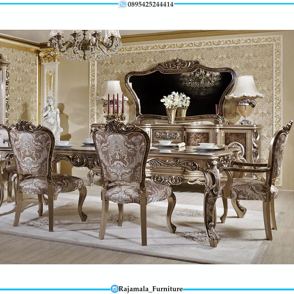 Meja Makan Mewah Kursi 6 Luxury Carving Classic Silver Shadow Color RM-0461