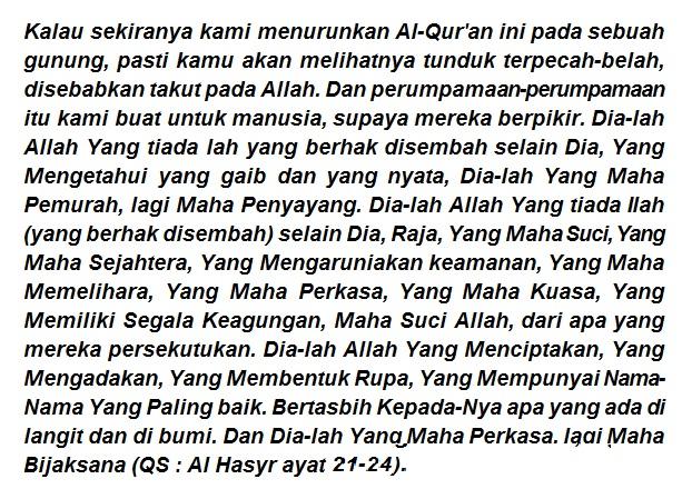 8 Fadhilah dan Khasiat Surat Al Hasyr Ayat 21-24 Terakhir Luar Biasa