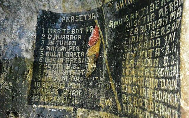 Tulisan ikrar di dinding Gua Rancang Kencono