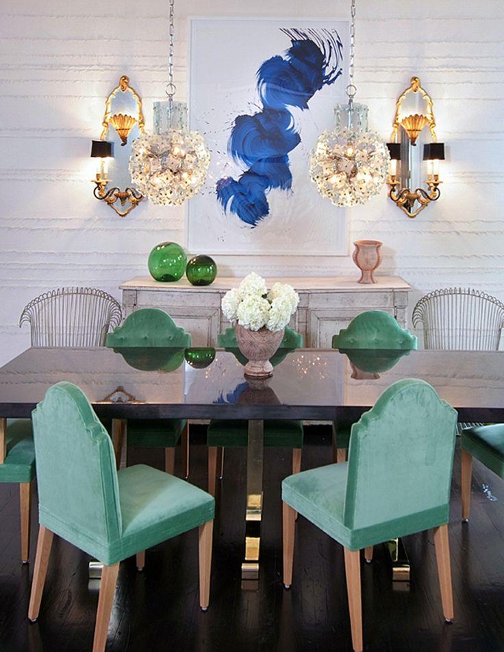 Aqua velvet dining chairs