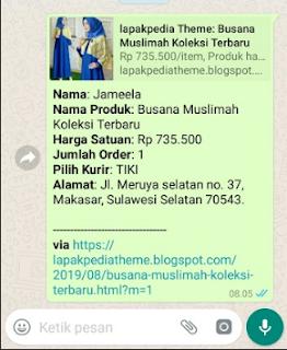 tampilan di whatsapp dari order lapakpedia THEME