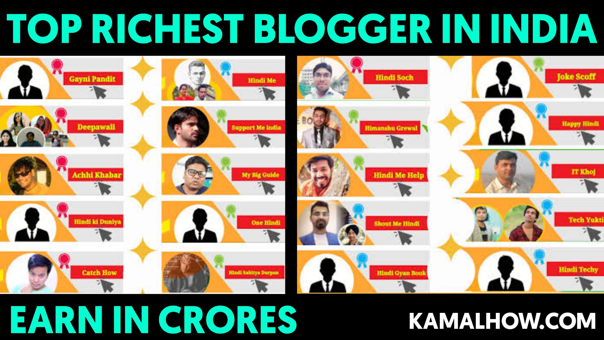 Top 10 bloggers and their earnings Income Hindi kamal how
