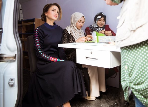 Queen Rania wore Jimmy Choo shoes. Queen Rania wore Maison Makarem Fearful Symmetry long sleeve blouse and skirt