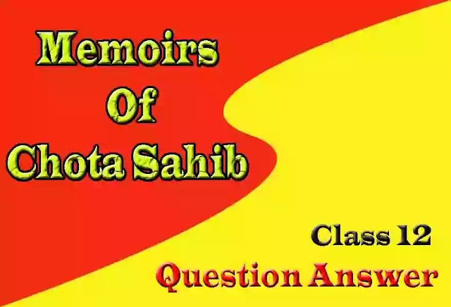 Memoirs of Chota Shahib Question Answer Class 12 | Notes