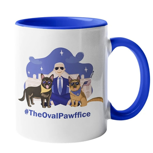 Presidential mug showing his 2 dogs