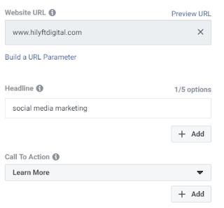 Facebook ad website URL