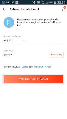 kode verifikasi aplikasi lazada