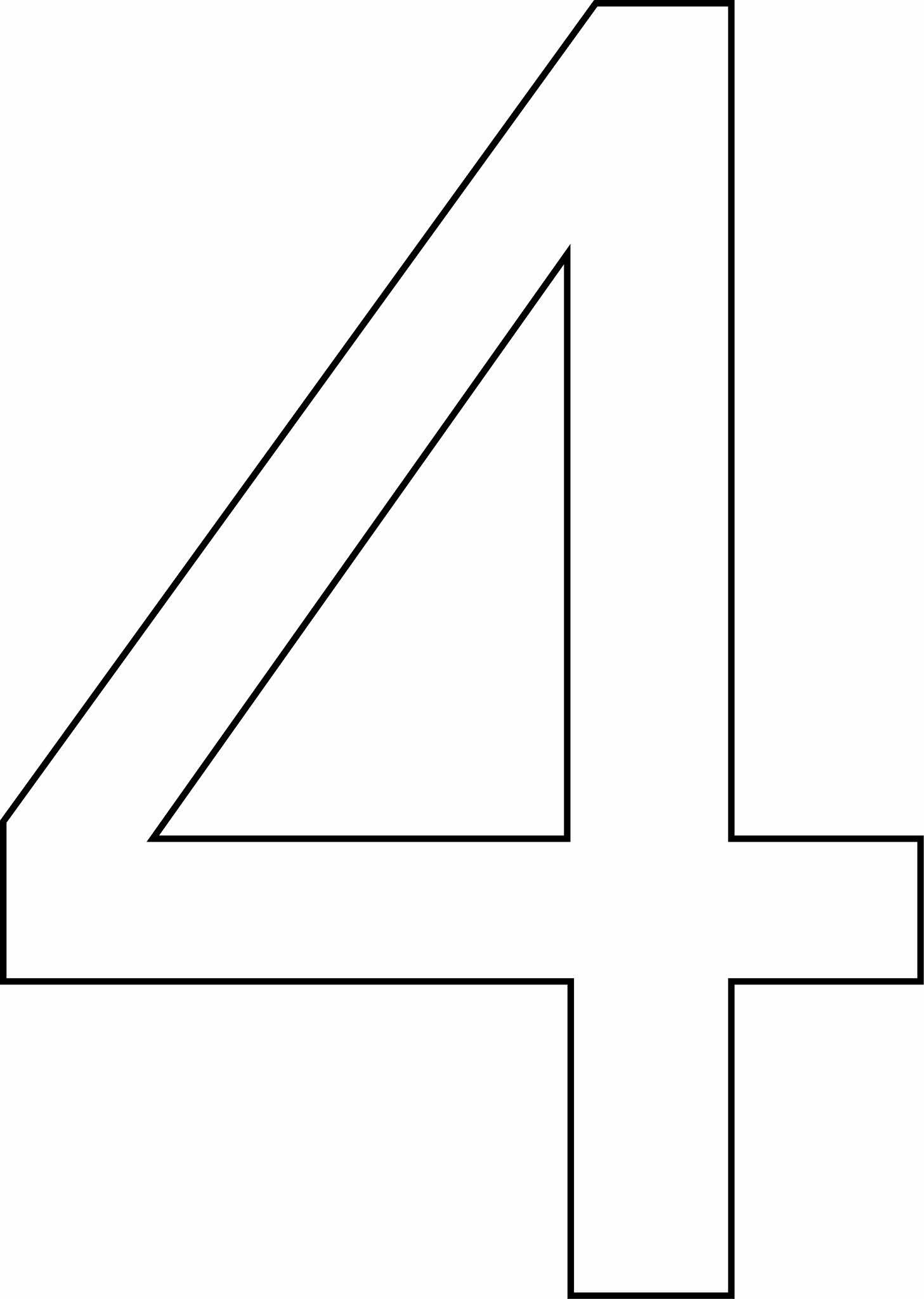Número 4 (quatro) para imprimir