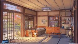 anime aesthetic bedroom background landscape