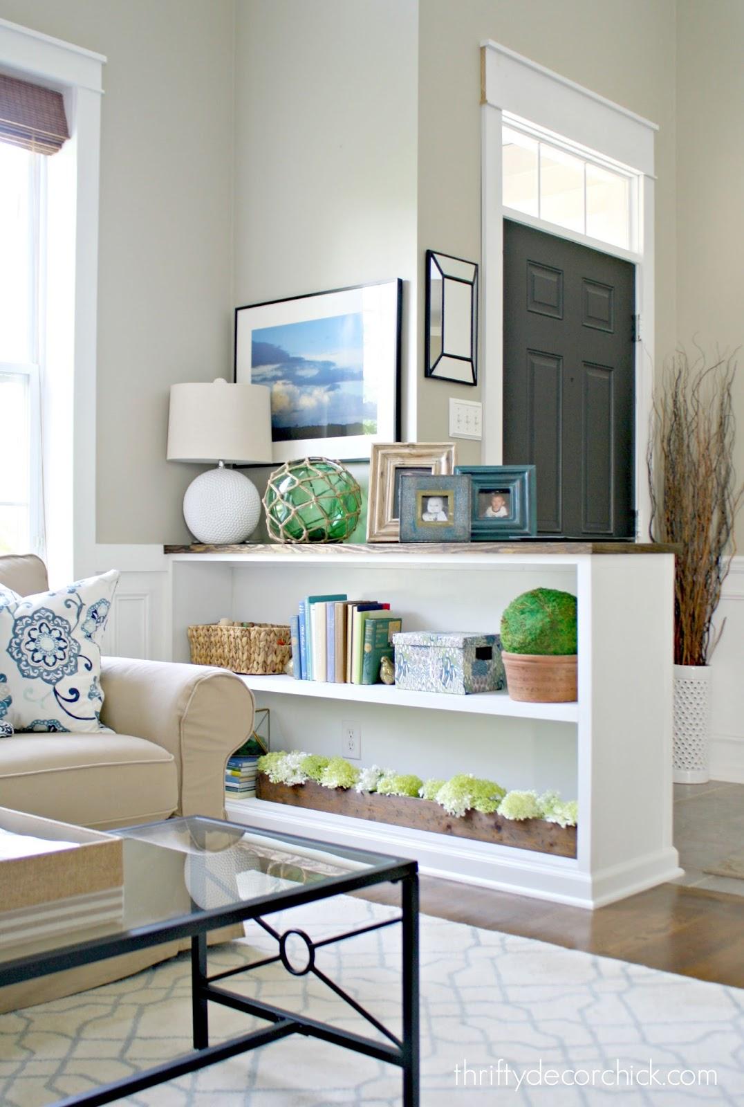 DIY Half Wall Bookcase