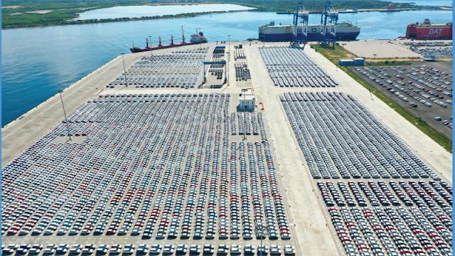 imported vehicles at Hambanthota port