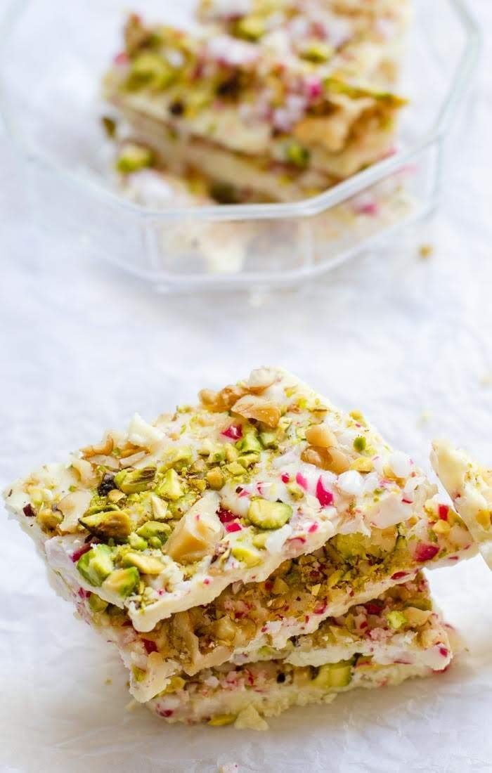 peppermint candy , walnut and pistachios bark