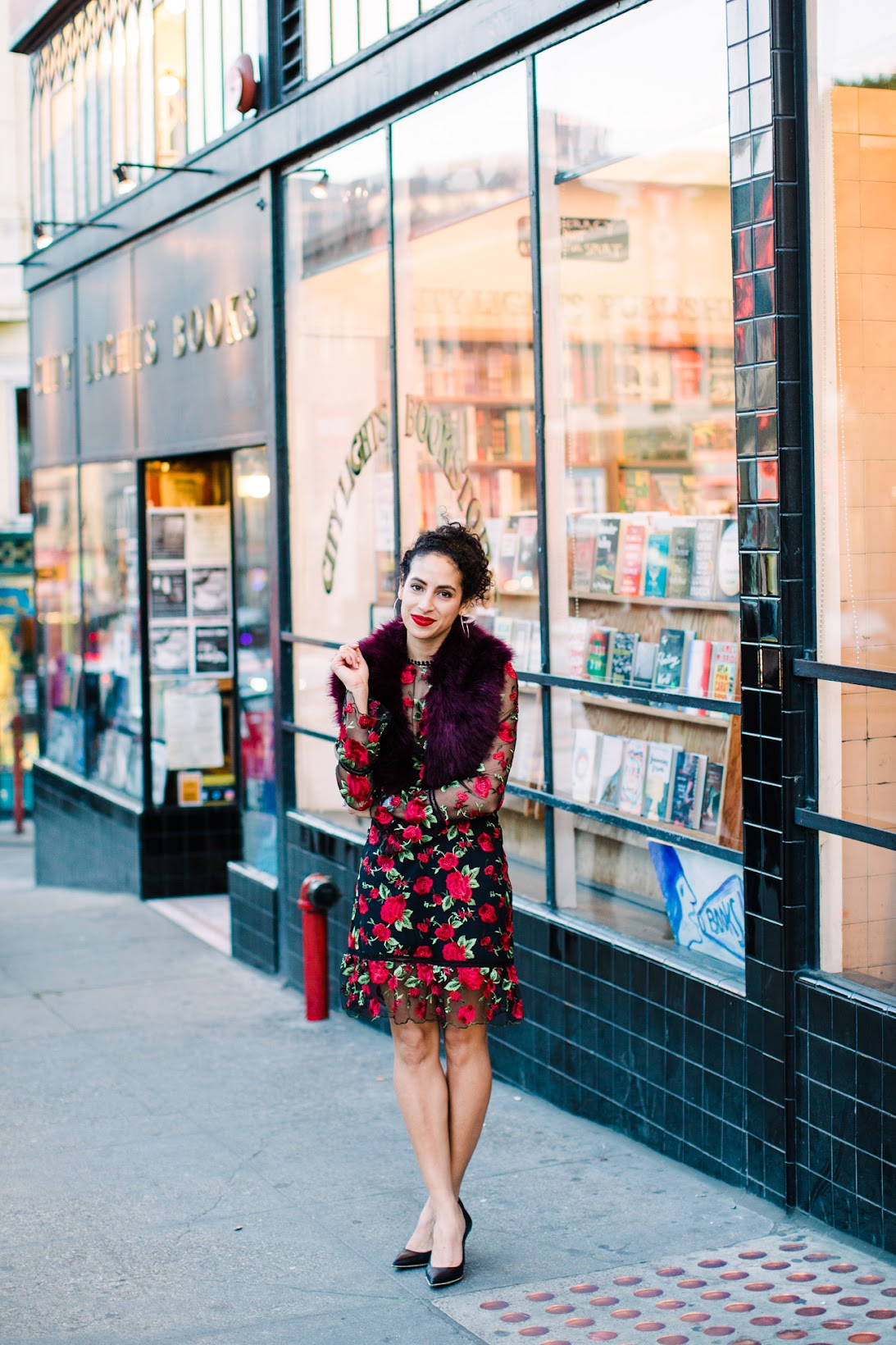 saylor dress, saylor allyson dress, embroidered dress, curly hair styles, how to style curly hair in a ponytail, how to wear red lipstick and a red dress, gold hoops, San Francisco street style, top SF fashion blogger