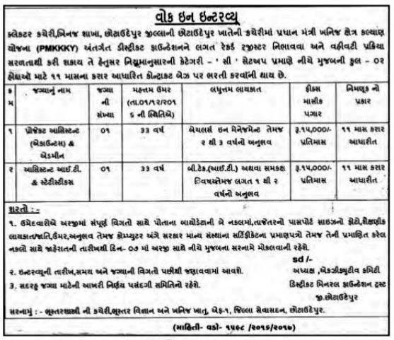 Collector Office, Chhota Udepur Recruitment 2017 for Various Posts