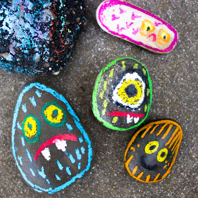 OIl Pastel Rock Monsters