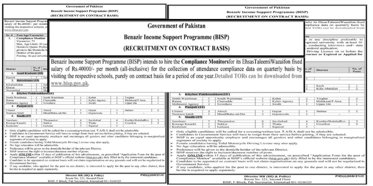 Benazir Income Support Program BISP Jobs 2021 for Compliance Monitors