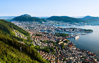 Bergen Norway in summer - a beautiful landscape of fjords