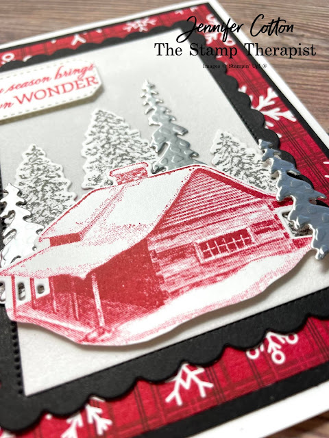Stampin' Up! Peaceful Cabin Bundle card with Peaceful Deer Sale a Bration DSP.  To make this card, I also used the Snowy White Velvet Sheets and Silver Foil Specialty Pack.  Video link, measurements, and supply list on blog.  #StampinUp #StampTherapist #PeacefulCabin